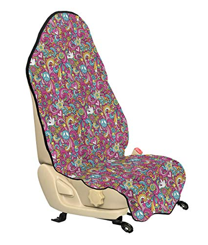 - Ambesonne Groovy Car Seat Hoody, Psychedelic Complex Funky Pastel Patterns with Stars Back to 60s Style Retro, Car Seat Cover Protector Non Slip Backing Universal Fit, 30