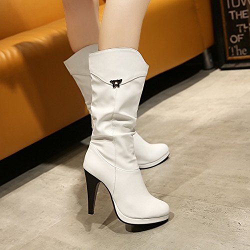 Heels Women's On White Western Autumn Slip High Winter Shoes Mid Boots Calf Cowboy Agodor Boots wqUHnEdw