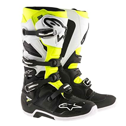 Amazon.com  Alpinestars Tech 7 Enduro Motocross Boots - Black White Yellow  - 11  Automotive 5e0857b7faad8