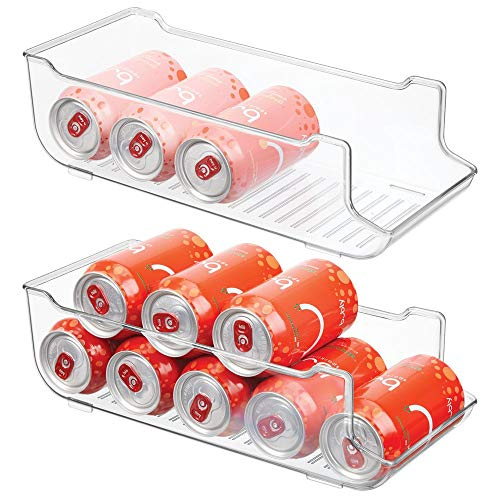 (mDesign Large Plastic Pop/Soda Can Dispenser Storage Organizer Bin for Kitchen Pantry, Countertops, Cabinets, Refrigerator - Holds 9 Cans - BPA Free, Food Safe, 2 Pack - Clear)