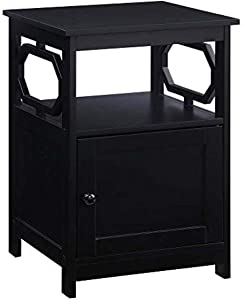 Convenience Concepts Omega End Table with Cabinet, Black