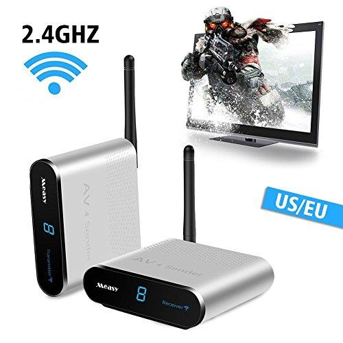 Measy AV240 Wireless AV Sender IR Remote Control Bedroom Signal go Through Walls Range 400M/1330FT to DVD,Gaming