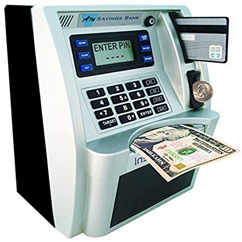 LB Children Kids Toy ATM Savings Bank Electronic Mini ATM Piggy Bank Cash Coin Educational ATM Machine for Boys Birthday Gift