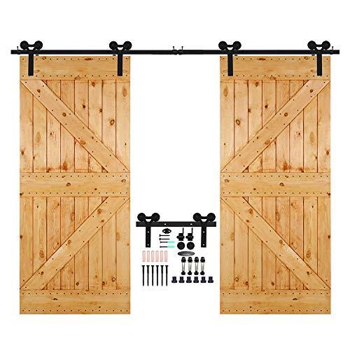 CCJH 13.6 Ft Single Sliding Barn Wood Door Hardware Track Set Black Y Style (13.6FT for Single Door)