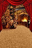 Cheap Christmas Tree Beside The Fireplace 8′ x 12′ CP Backdrop Computer Printed Scenic Background GladsBuy Backdrop HY-CM-3251