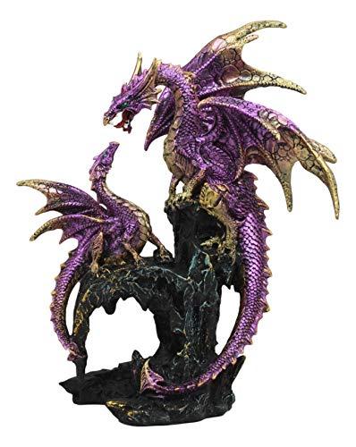 (Ebros Nature's Nurture Metallic Purple Mother Dragon with Baby Statue 10.5