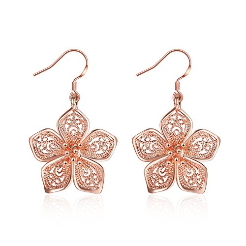 Silver Flower Dangle Earrings for Women Teen Girls Flower Drop Earrings Plated Sterling Silver, by DreamSter (18K Rose Gold Plated)