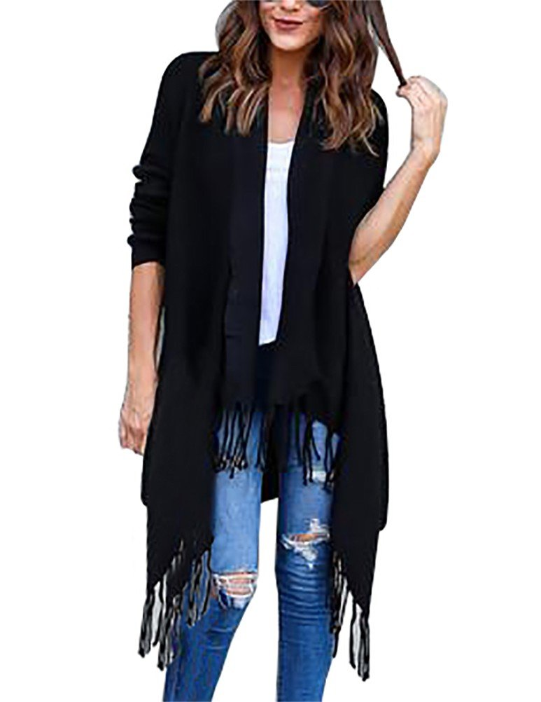 Myobe Open Front Boyfriend Fringed Cardigan Long-Sleeved Solid Sweater Tops(S, Black)