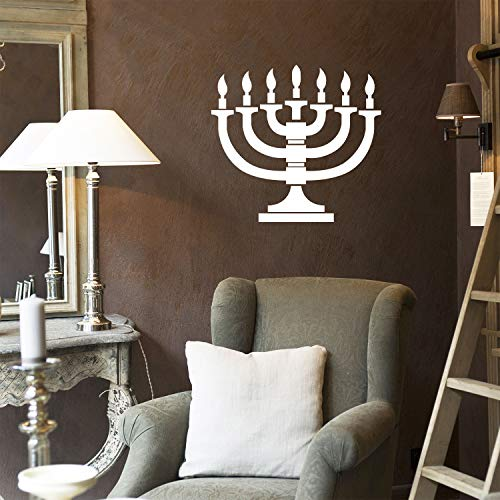 Vinyl Wall Art Decal - 7 Menorah Candles - 21