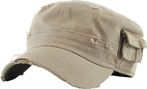 - KBETHOS Cadet Army Cap Basic Everyday Military Style Hat (Small, (Distressed Pockets) Khaki)