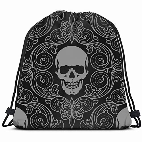 Skulls Skull Illustrations Clip Art Drawstring Bag Backpack Gym Dance Bag Reversible Flip Sequin Bling Backpack For Hiking Beach Travel Bags ()