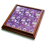 3dRose trv_263051_1 Fashion Victim in Paris with Eiffel Tower and Perfume for Girlies Trivet with Tile, 8 by 8''