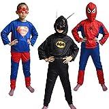 FancyDressWale Spiderman,Superman and Batman Triset For Kids (4-6 YRS)