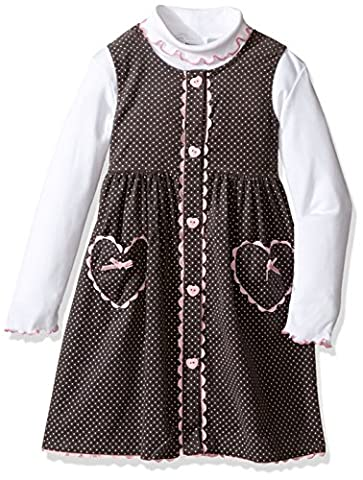 Blueberi Boulevard Little Girls' 2pc Heart Print Jumper Set, Pink, 6 - Corduroy Jumper Dress Set