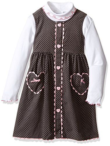 Blueberi Boulevard Little Girls' Toddler 2pc Heart Print Jumper Set, Pink, 2T (Print Jumper Set)