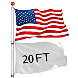 Eazon 20 ft Telescopic FlagPole Kit Aluminum Fly 2 Flags Free 3'x5' US Flag & Gold Ball Top Finial In Ground Hardware for Outdoor Festival Décor