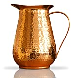 Kosdeg Copper Pitcher Extra Large 68 Oz - Drink More Water, Lower Your Sugar Intake And Enjoy The Health Benefits Immediately - 100% Pure Copper Handmade Hammered Jug, Made From Heavy Gauge Copper