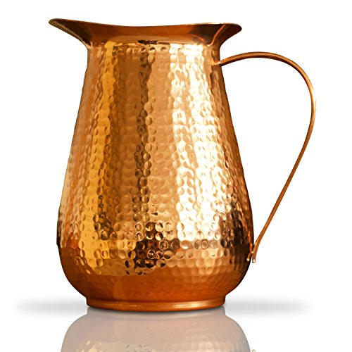 Kosdeg Copper Pitcher Extra Large 68 Oz - Drink More Water, Lower Your Sugar Intake And Enjoy The Health Benefits Immediately - 100% Pure Copper Handmade Hammered Jug, Made From Heavy Gauge Copper by Kosdeg