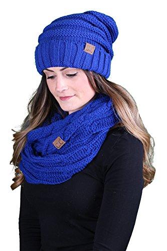 - bHS-6100-57 Oversized Beanie Scarf Bundle - Royal Blue