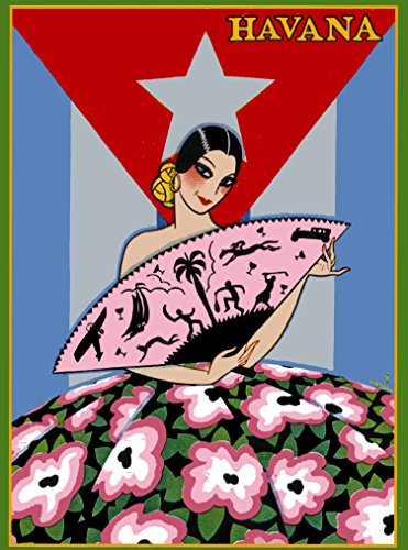 A SLICE IN TIME Cuba Cuban Tropics Havana Habana Girl With Fan Caribbean Island Vintage Travel Art Advertisement Poster