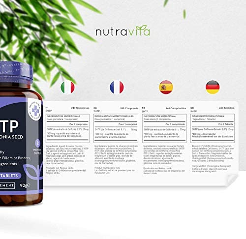 5-HTP 400mg - 240 Tabletas Veganas - Suministro de 8 Meses - 5htp ...