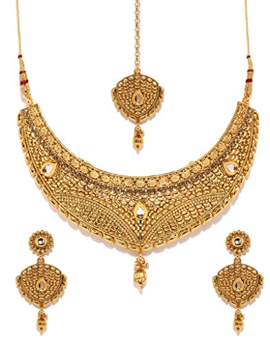 (Bindhani Indian Jewelry Wedding Party Wear Bridal Bridemaids Antique Crafted Gold Plated Kundan Choker Necklace Earrings Tikka Set Designer Bollywood Style Jewellery Tika Set for Women)