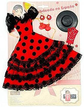 Amazon.es: Folk Artesanía Set Vestido, Pendientes, Sombrero, peinetas y castañuelas Flamenca Andaluza para muñeca Baribe de Mattel. Muñeca no incluida (Blanco Lunar Rojo): Juguetes y juegos
