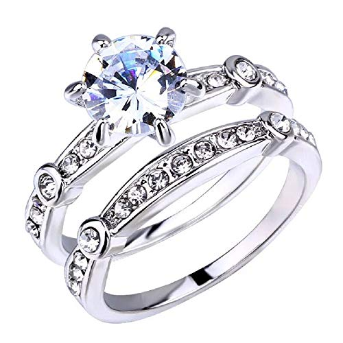 - i&D Jewelry Stainless Steel Women's Infinity Wedding Ring Set Halo Round CZ Cubic Zirconia Engagement Band Bridal Jewelry Sets Size 5-10 (5.75)