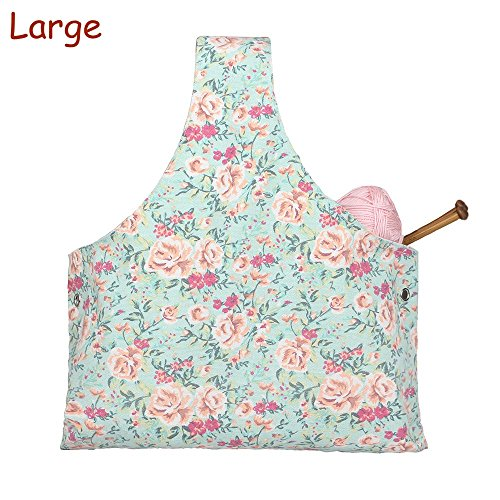 Knitting Tote Bag Yarn Storage Organizer for Large Projects, Sweet Floral (Large) by A AIFAMY