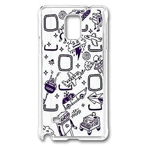 VUTTOO Rugged Samsung Galaxy Note 4 Case, Technology Doodles Case for Samsung Galaxy Note 4 N9100 PC Transparent
