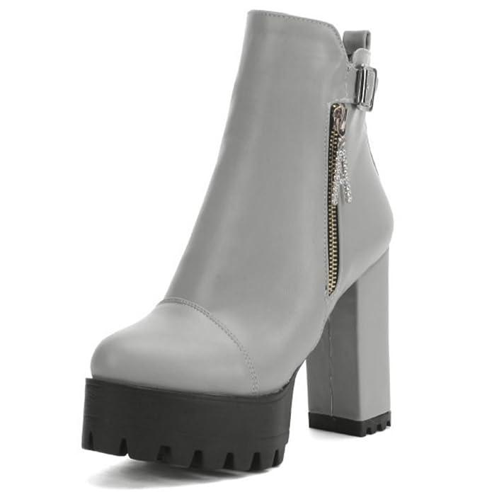 LONGFENGMA Damen Knöchelriemchen Reißverschluss Runde Zehe Plateau Martin Stiefel Blockabsatz Mode Schuhe (38.5 EU, Waffe Farbe)