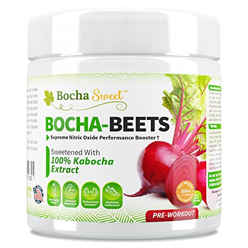 BochaSweet: Bocha-Beets Nitric Oxide Booster Supplement – Organic Beet Root Juice Powder + Citrulline, Betaine, BCAA Amino Acids & Electrolytes, 100% Kabocha Extract Sweetened, 21 Servings