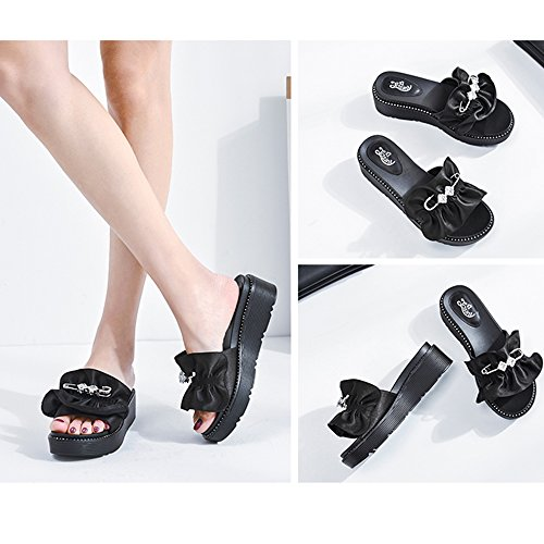 5 Shoes UK5 5CM Green Summer Thick EU38 Beach Black Bottom Increase Sandals Lace ZHIRONG Shoes CN38 Black Slippers Size Toe Open Rhinestone 5 Black Women's Color pBqwgO