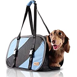 ibiyaya 2 in 1 Airline approved soft-sided pet traveling purse carrier, pet carseat small dogs, puppy cats, Collapsible Storage