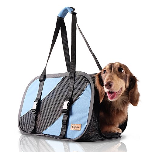 - ibiyaya 2 in 1 Airline approved soft-sided pet traveling purse carrier, pet carseat small dogs, puppy cats, Collapsible Storage