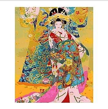 asd137588 Traje japonés Kimono Belleza Pintura by números Lienzo ...