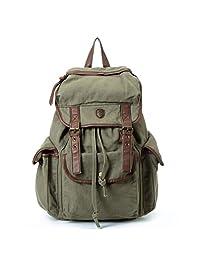 BUG Multi-function Canvas Backpack/ Practical Rucksack /Leisure Rucksack/ Unisex Backpack - 8 Colors (Army Green)