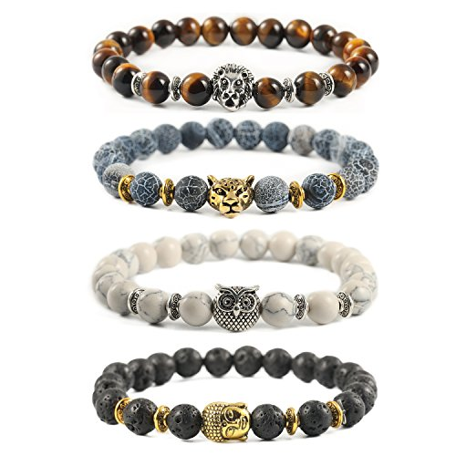 Ogemluv Lava Rock Stone Bead Bracelets for Men Women Lion Leopard Owl Buddha,8MM Beads (Owl Beads Bracelet)