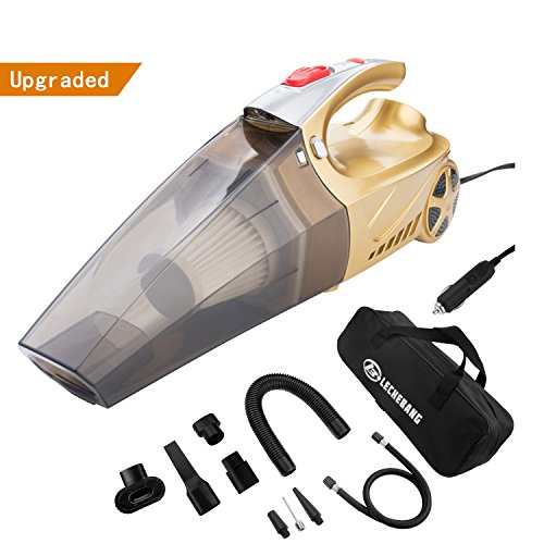 LECHEBANG Car Vacuum Cleaner, Hand Held Car Vacuum Wet Dry DC 12V High Power Vacuum with Digital Tire Pressure Preset, Golden Car Vacuum Cleaner, One Carry Bag