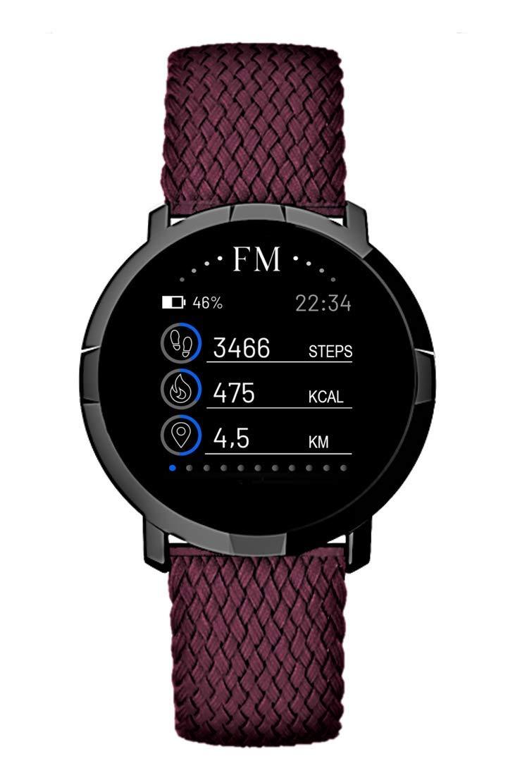 Florence Marlen Smartwatch Hombre-Mujer FM1R Venezia Correa en Tejido Rojo|Bluetooth Pantalla táctil Impermeable| Cardiofrecuencímetro, Podómetro| ...