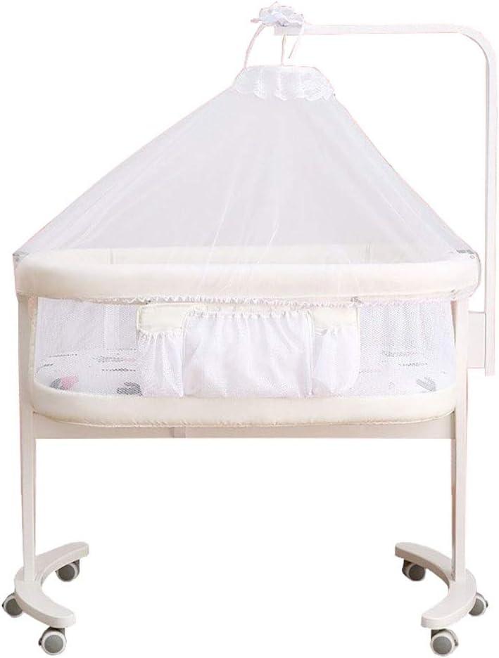 LXJ Cuna Multifuncional para bebés, Cuna de Madera portátil y móvil para recién Nacidos, se Puede unir Cama Grande, Blanco, 100 × 56 × 83 cm