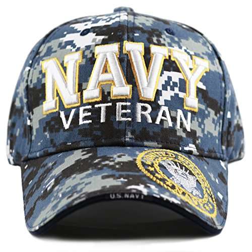THE HAT DEPOT 1100 Official Licensed Military 3D Embroidered Logo Veteran Cap (Navy-Blue Digital Camo)