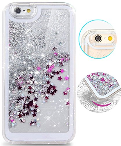Iphone 6 Case, Iphone 6s Case, Hundromi Luxury Bling Glitter Sparkle Hybrid Bumper Case with Liquid Infused with Glitter and Stars for Iphone 6/iphone 6s - Silver