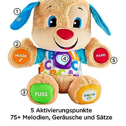 Fisher-Price FPM50 - Lernspaß Hündchen Baby Spielzeug und Plüschtier, Lernspielzeug mit Liedern und Sätzen, mitwachsende Spielstufen, Spielzeug ab 6 Monaten, deutschsprachig 3