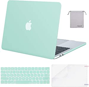 MOSISO MacBook Pro 13 inch Case 2019 2018 2017 2016 Release A2159 A1989 A1706 A1708, Plastic Hard Shell Case&Keyboard Cover&Screen Protector&Storage Bag Compatible with MacBook Pro 13, Mint Green