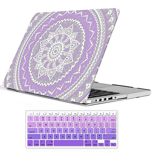 iCasso MacBook Pro 13 Retina Case Rubber Coated Hard Shell Protective Cover for MacBook Pro 13 inch Retina (No CD-ROM) Model A1425/A1502 (2012-2015 Version)+Keyboard Cover (Purple &White Medallion)