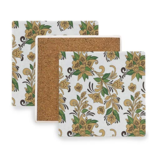 Tropical Flowe Coasters, Protection for Granite, Glass, Soapstone, Sandstone, Marble, Stone Table - Perfect Cork Coasters,Square Cup Mat Pad for Home, Kitchen or Bar 1 Piece]()
