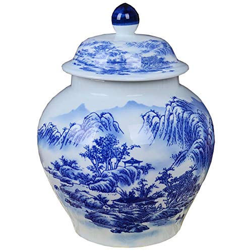 - QINYA,Cremation Urn for Ashes-Funeral Urn for Human Ashes,Hand Made in Blue and White Porcelain and Hand Engraved,Long-Term Storage (Water Pavilion)