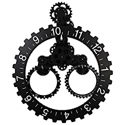 Sea Team 26 x 22 Large Sized Mechanical Style Gear Elements Quartz Movement Wall Clock Decorative Modern Steampunk Big Month/Date/Hour Wheel Clock (Black)