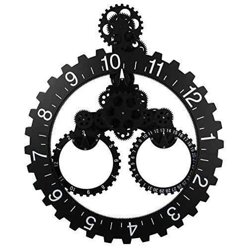 Sea Team 26'' x 22'' Large Sized Mechanical Style Gear Elements Quartz Movement Wall Clock Decorative Modern Steampunk Big Month/Date/Hour Wheel Clock (Black) by Sea Team